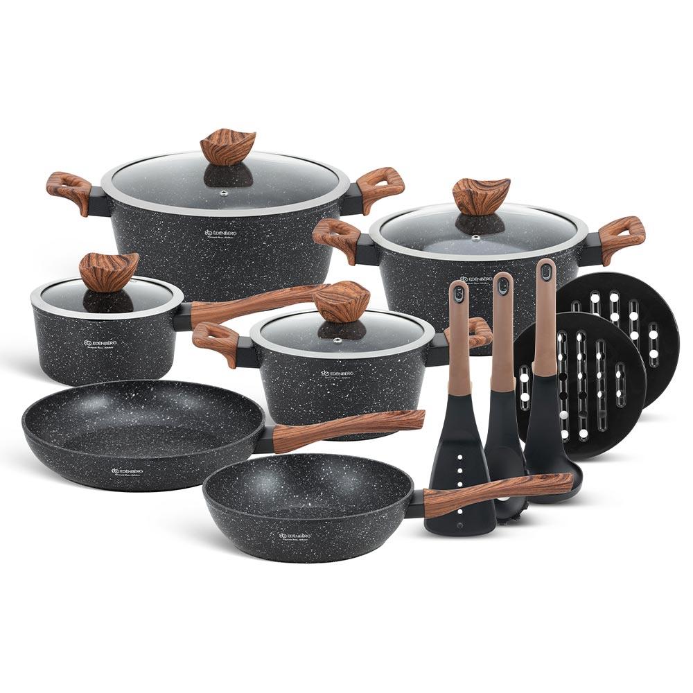 Edenberg Σετ αντικολλητικά μαγειρικά σκεύη με εργαλεία κουζίνας 15 τμχ σε μαύρο χρώμα EB-5617