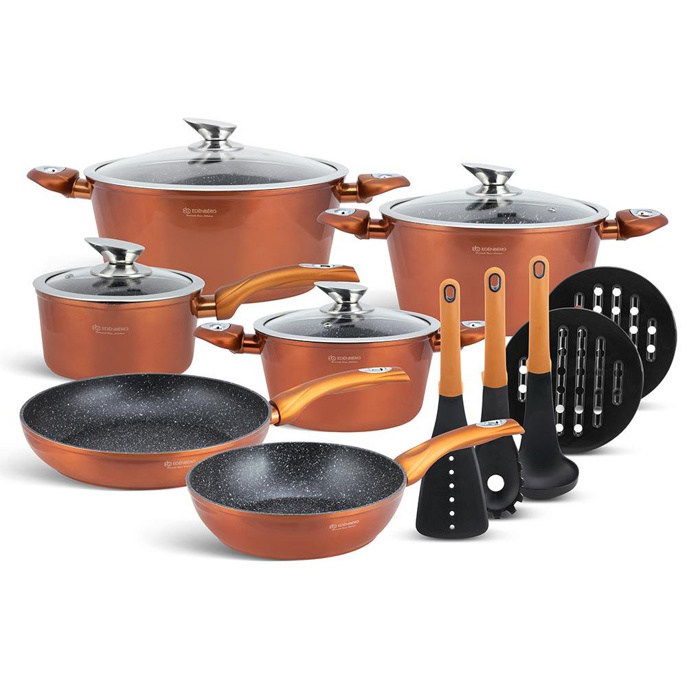 Edenberg Σετ αντικολλητικά μαγειρικά σκεύη με εργαλεία κουζίνας 15 τμχ σε χάλκινο χρώμα EB-5618