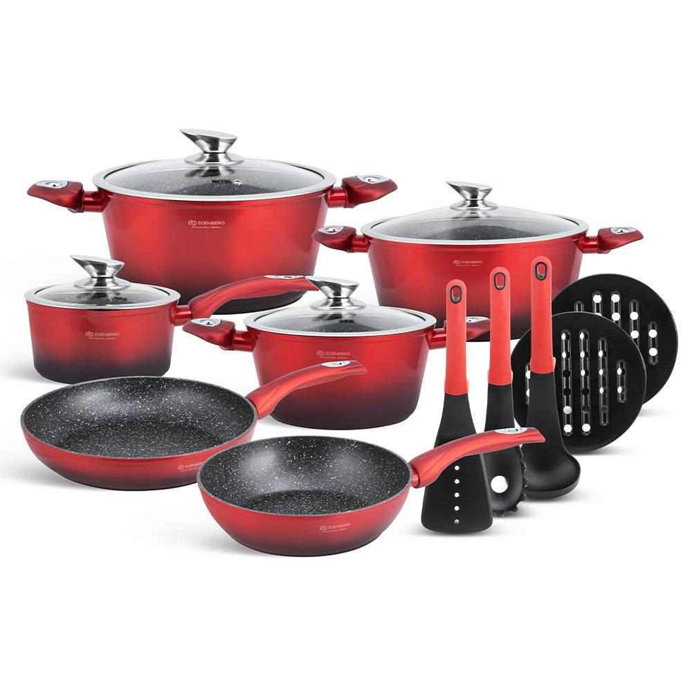 Edenberg Σετ αντικολλητικά μαγειρικά σκεύη με εργαλεία κουζίνας 15 τμχ σε κόκκινο - μαύρο χρώμα EB-5619