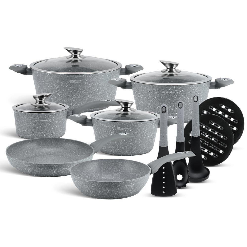 Edenberg Σετ αντικολλητικά μαγειρικά σκεύη με εργαλεία κουζίνας 15 τμχ σε γκρι χρώμα EB-5620