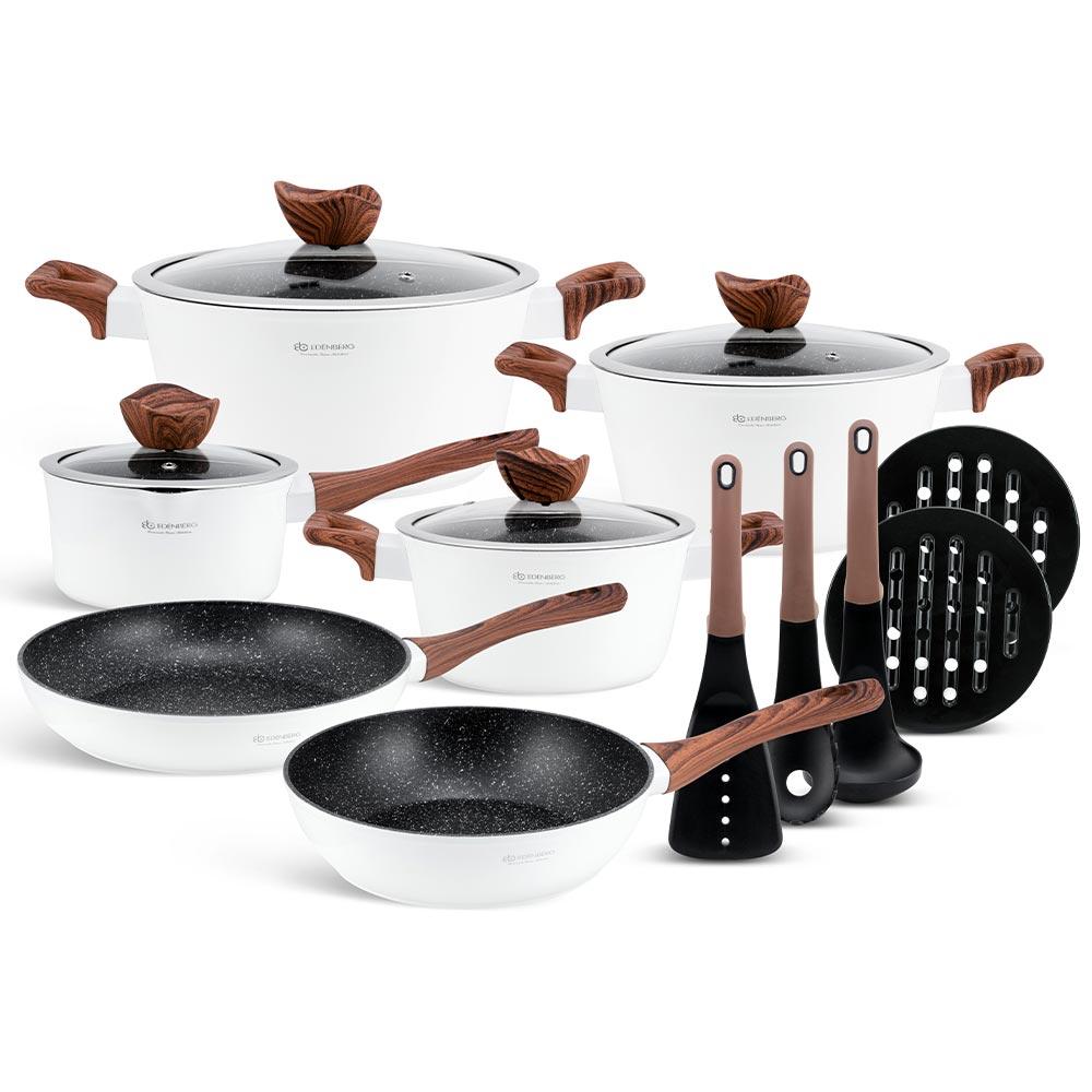 Edenberg Σετ αντικολλητικά μαγειρικά σκεύη με εργαλεία κουζίνας 15 τμχ σε λευκό χρώμα EB-5622