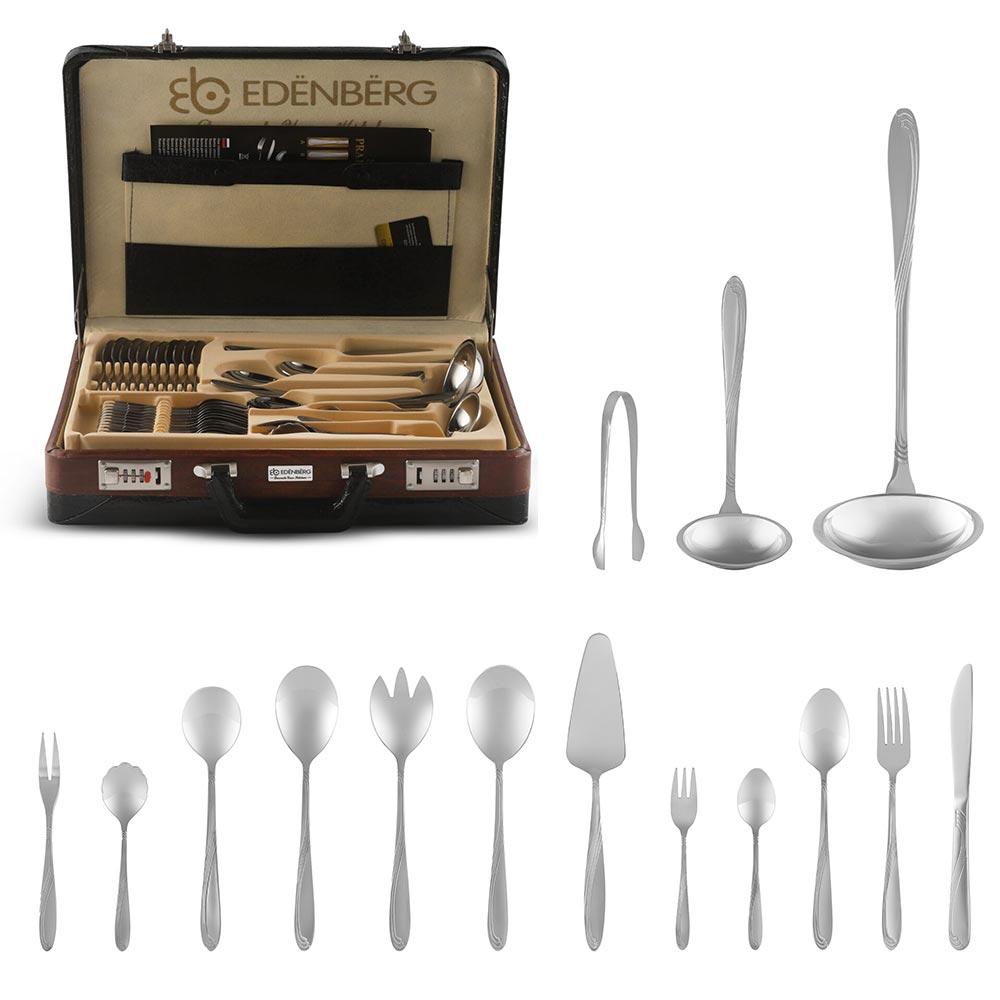 Edenberg Βαλιτσάκι με σετ μαχαιροπίρουνα και εργαλεία κουζίνας 72 τμχ EB-5821B