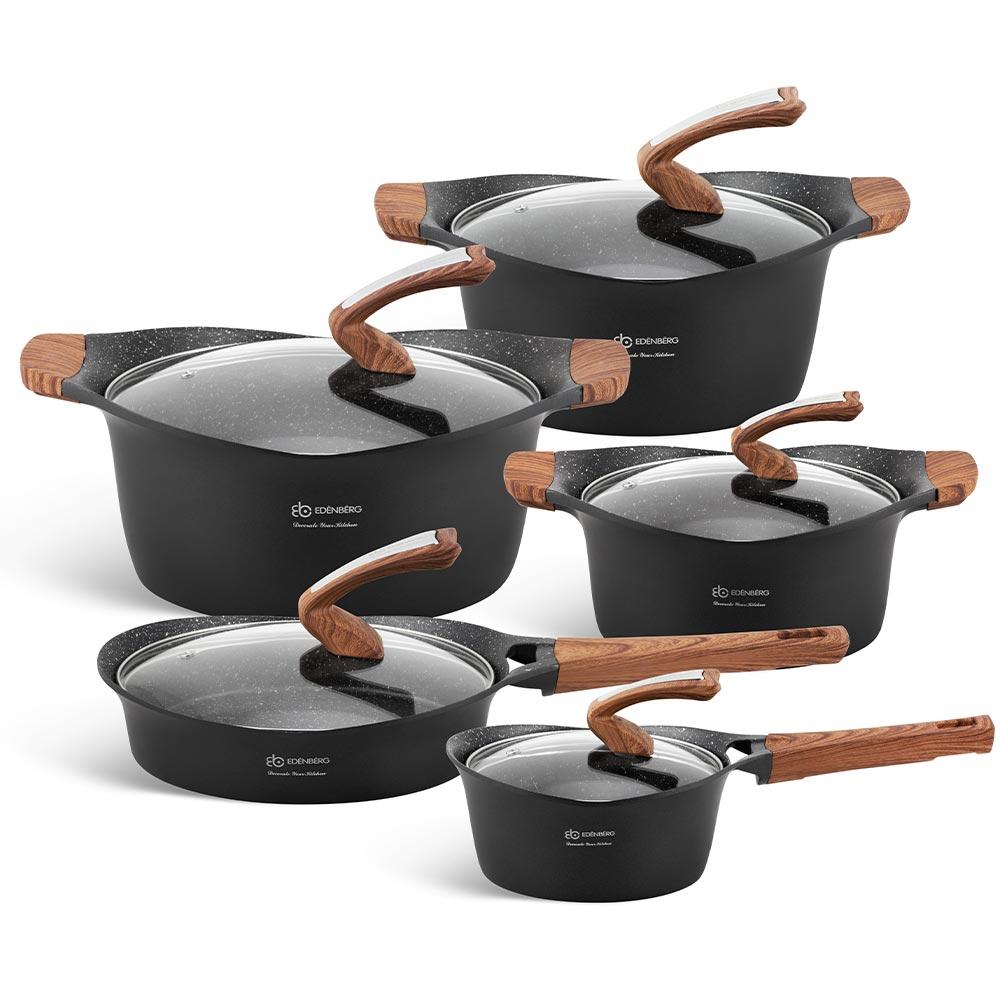 Edenberg Σετ αντικολλητικά μαγειρικά σκεύη με εργαλεία κουζίνας 15 τμχ σε μαύρο χρώμα EB-9184
