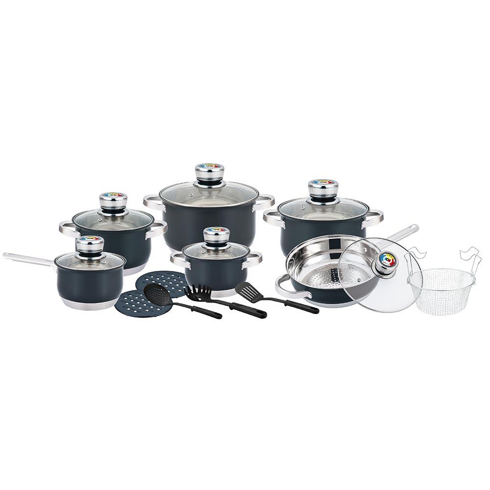 Herenthal Σετ μαγειρικά σκεύη και εργαλεία κουζίνας σε μαύρο χρώμα 18 τμχ HT-1801BBL
