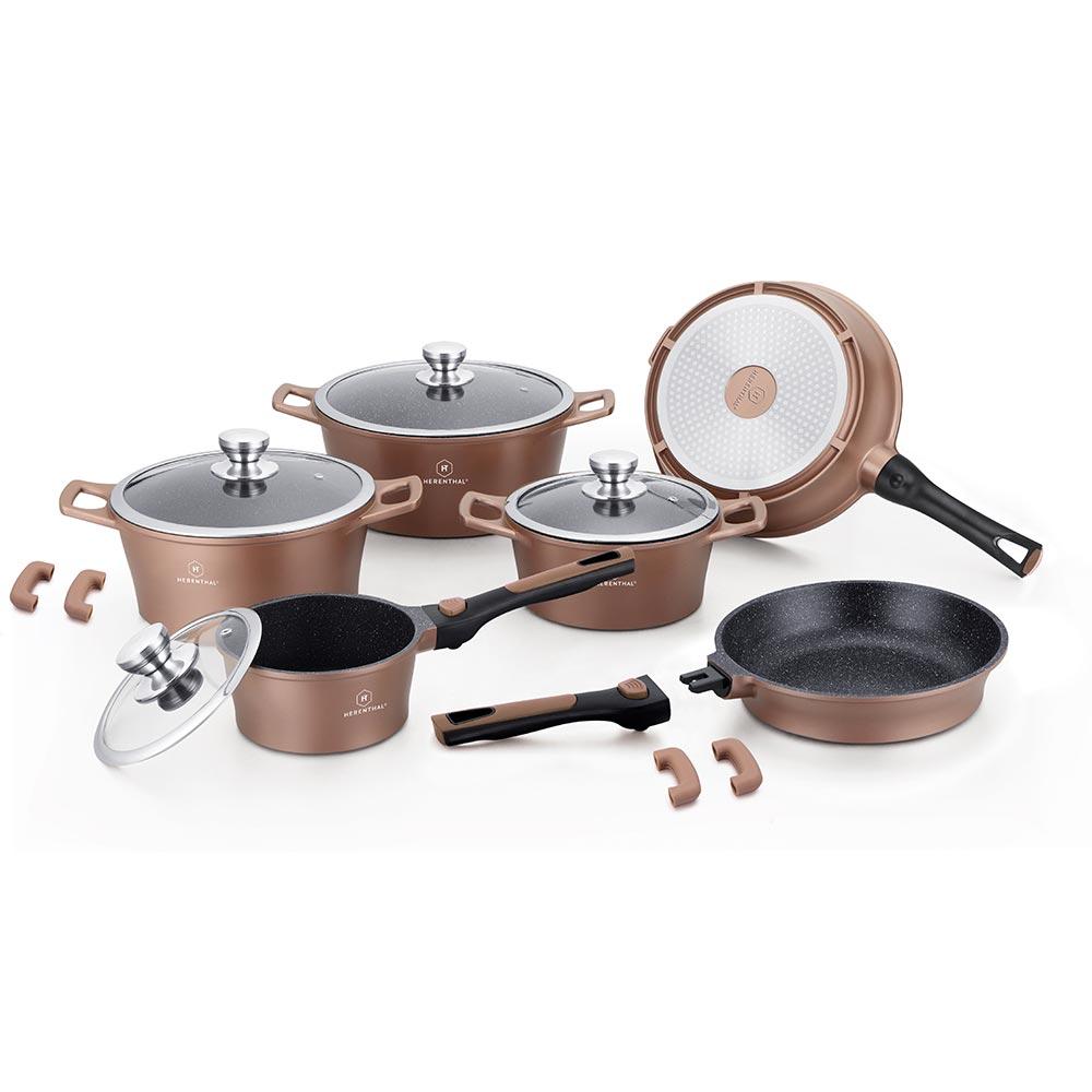 Herenthal Σετ αντικολλητικά μαγειρικά σκεύη 14 τμχ σε χάλκινο χρώμα HT-CES2014M-COP
