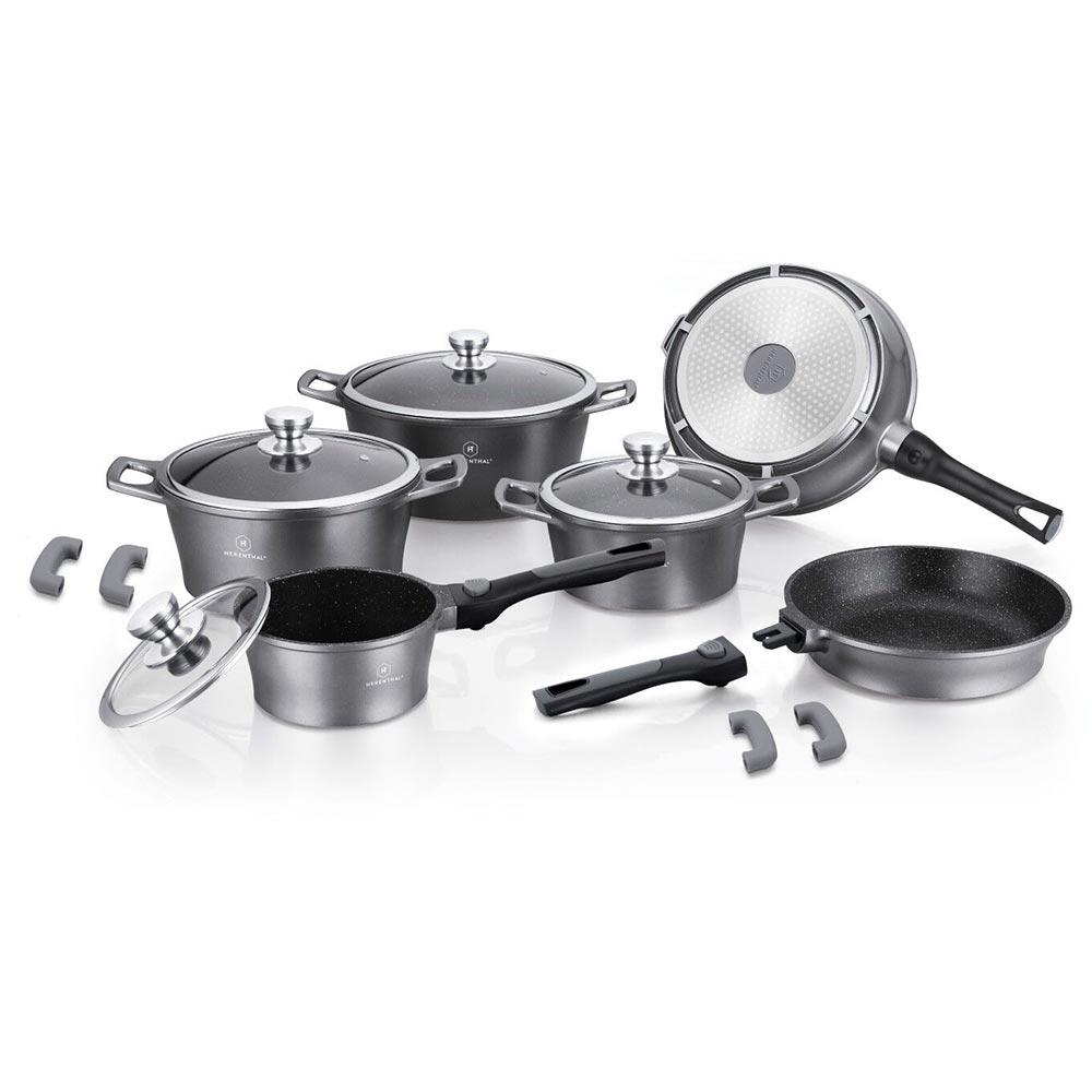 Herenthal Σετ αντικολλητικά μαγειρικά σκεύη 14 τμχ σε ασημί χρώμα HT-CES2014M-SLV