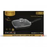 Edenberg Αντικολλητική γκριλιέρα - σχαροτήγανο με γυάλινο καπάκι Ø28cm EB-8154