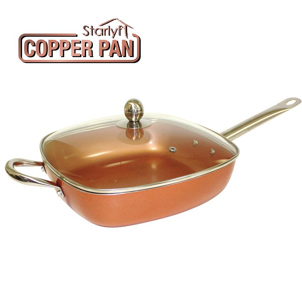 Copper Pan Αντικολλητικό τετράγωνο τηγάνι με γυάλινο καπάκι 28 x 28 x 7cm
