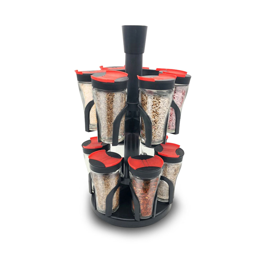 Herzberg HG-6004 Σετ Γυάλινα Βαζάκια Μπαχαρικών 12 Τεμαχίων με Περιστρεφόμενη Βάση