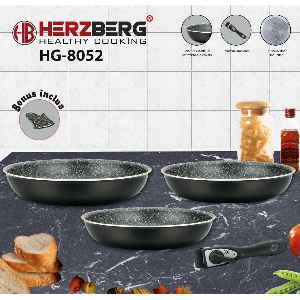 Herzberg HG-8052-BLK Σετ Τηγάνια 5 τμχ με Αποσπώμενη λαβή και Επίστρωση Μαρμάρου Μαύρα