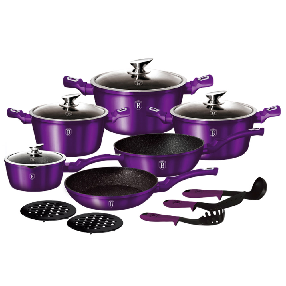 Berlinger Haus Σετ Μαγειρικά Σκεύη 15τμχ με Τριπλή Μαρμάρινη Επίστρωση Royal Purple Edition Metallic Line BH-1662N-2