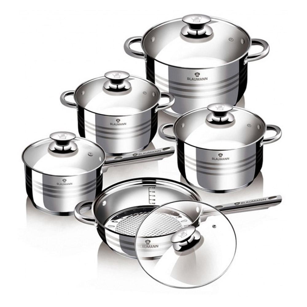 Σετ αντικολλητικά μαγειρικά σκεύη από ανοξείδωτο ατσάλι - 10 τεμ Blaumann BL-1637