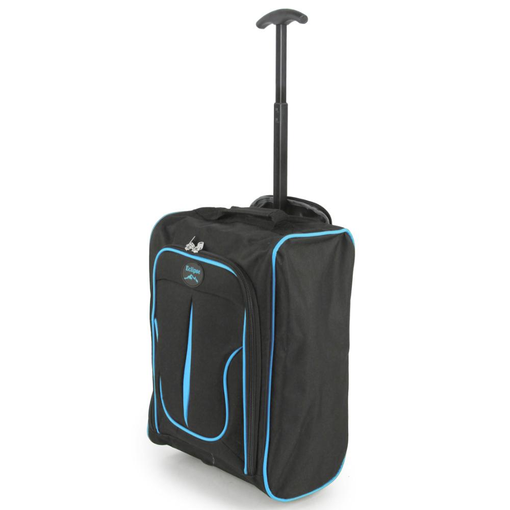 2149-17-BKBL Βαλίτσα Καμπίνας Τρόλεϊ Μαύρο-Μπλε Sunrise Bags
