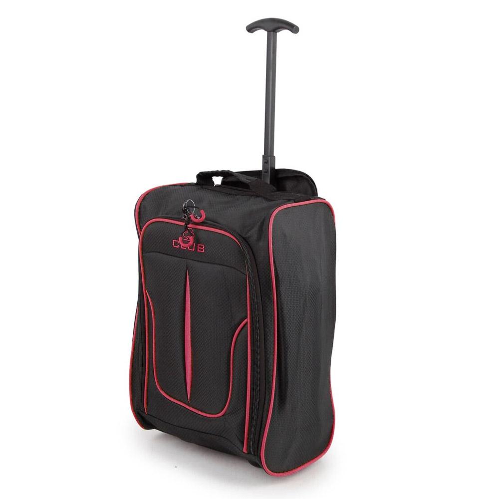 2147-17-BKPK Βαλίτσα Καμπίνας Τρόλεϊ Μαύρο-Ροζ Sunrise Bags