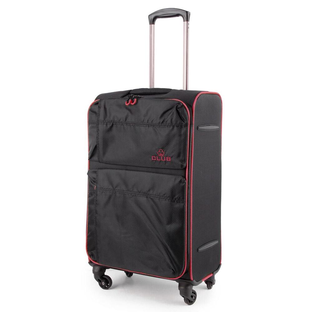 2147-27-BKPK  Βαλίτσα Τρόλεϊ με 4 Ρόδες Μαύρο-Ροζ Sunrise Bags