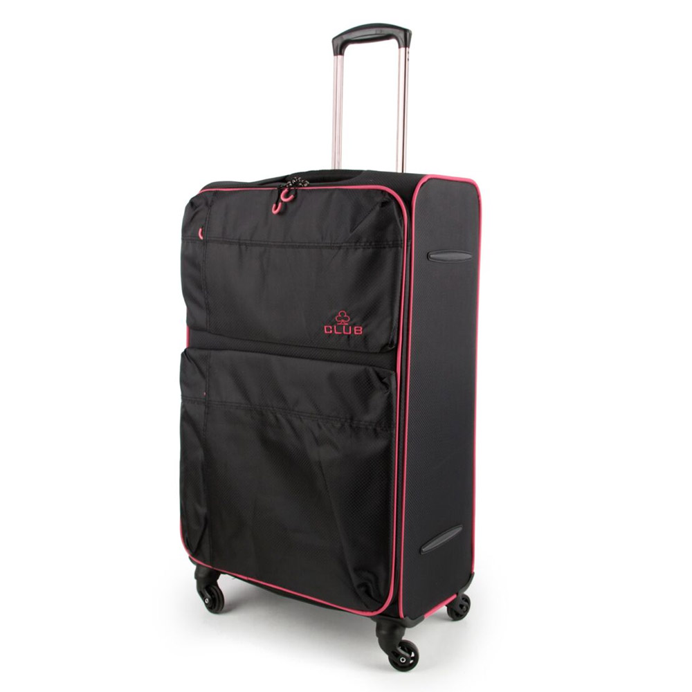 2147-31-BKPK Βαλίτσα Τρόλεϊ με 4 Ρόδες Μαύρο-Ροζ Sunrise Bags