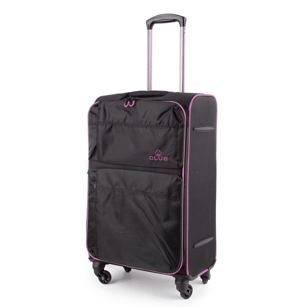 2147-27-BKPU Βαλίτσα Τρόλεϊ με 4 Ρόδες Μαύρο-Μοβ Sunrise Bags