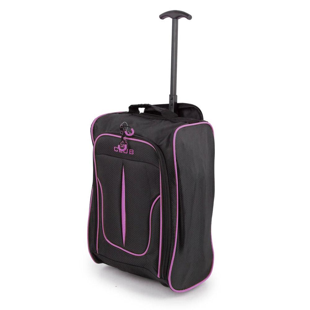 2147-17-BKPU Βαλίτσα Καμπίνας Τρόλεϊ Μαύρο-Μοβ Sunrise Bags
