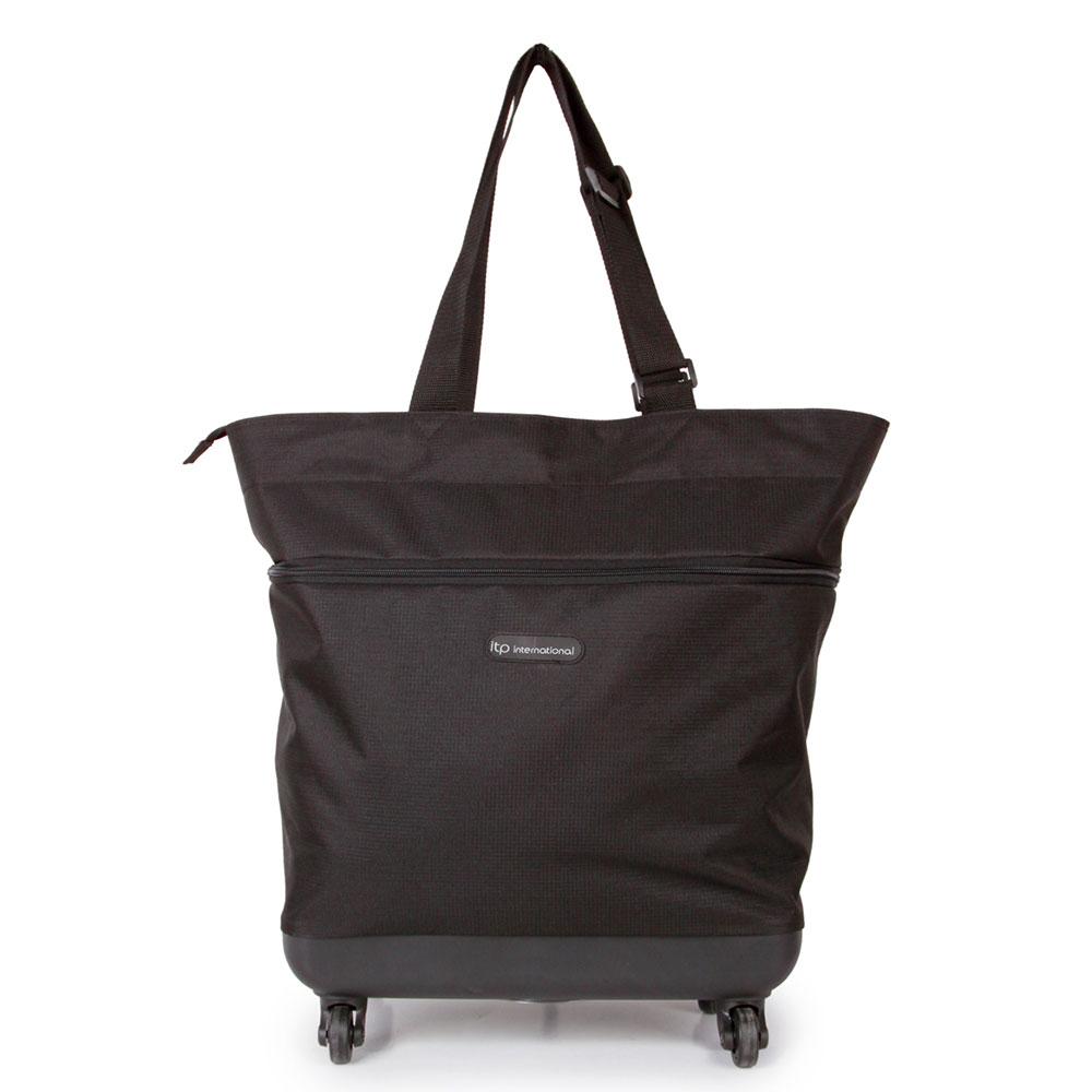 SUNRISE BAGS Εύκαμπτη τροχήλατη τσάντα καμπίνας μαύρη 44Lt EX008.A-BK