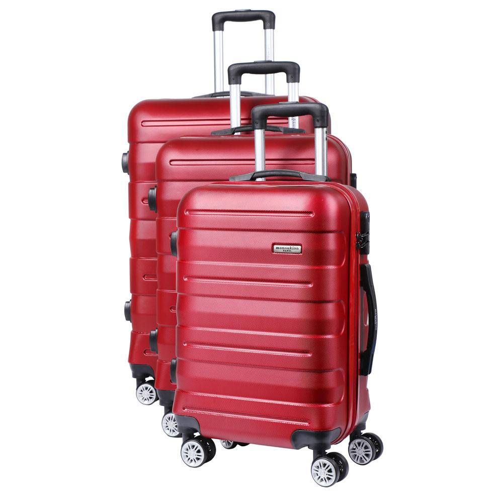 Manoukian Paris Σετ Βαλίτσες με χειραποσκευή 3τμχ Κόκκινες MAN-44-R