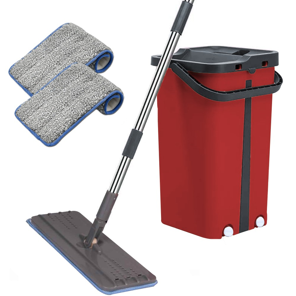 Cenocco Σύστημα Καθαρισμού – Σετ Επίπεδη Αυτοκαθαριζόμενη Σφουγγαρίστρα με Κουβά Κόκκινη CC-9077-RD