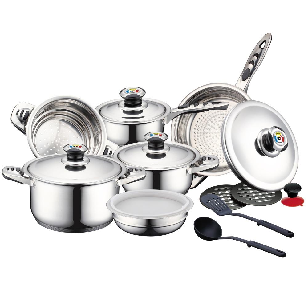 Herzberg Σετ Μαγειρικών Σκευών και Εργαλείων Κουζίνας 16 τμχ από Ανοξείδωτο Ατσάλι HG-16SS