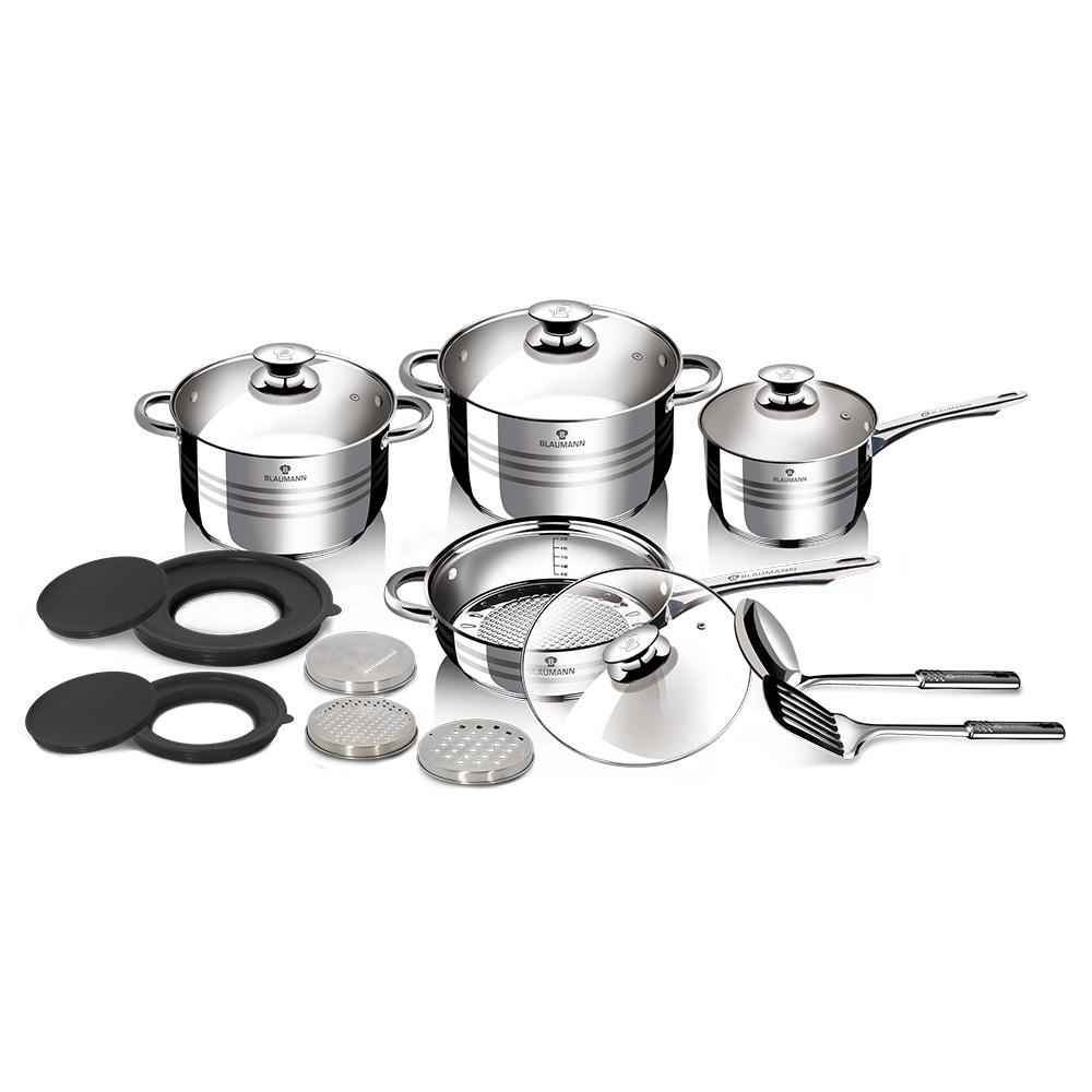 Σετ μαγειρικά σκεύη 15 τεμαχίων από ανοξείδωτο ατσάλι Gourmet Line, Berlinger Haus BL-3197